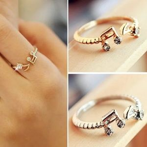Adjustable Music Note Ring- silver plated